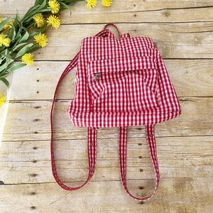 90's VTG Y2K Vibe Red Gingham Mini Backpack